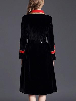 Black Solid Shift Elegant Velvet Coat_3