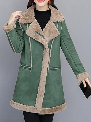 Paneled Zipper Lapel Casual Fur And Shearling Coats_2