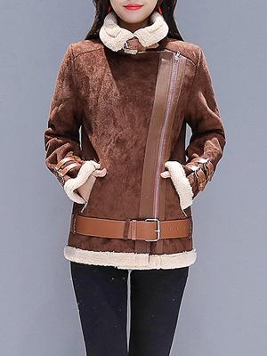Coffee Paneled Pockets Zipper Fur and Shearling Coat_1