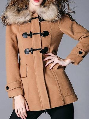 Tencel Hoodie Casual Zipper Buttoned Pockets Solid Coat_2
