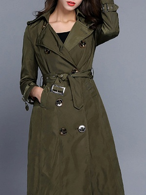 Long Sleeve Pockets Casual Buttoned Coat_4
