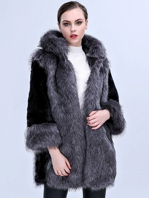 Gray Fluffy Hoodie Solid Fur And Shearling Coats_6