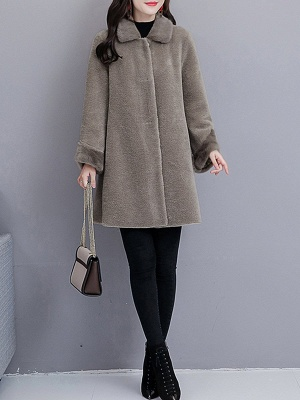Buttoned Long Sleeve Solid Fur And Shearling Coats_4