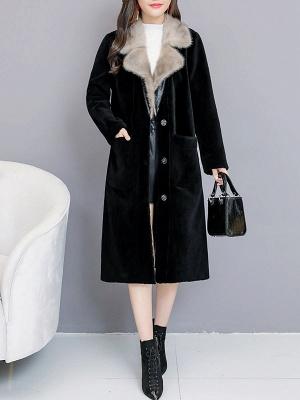 Black Work Lapel Paneled Pockets Fur And Shearling Coats_5
