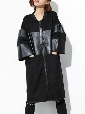 Black PU Paneled Zipper 3/4 Sleeve Coat_1