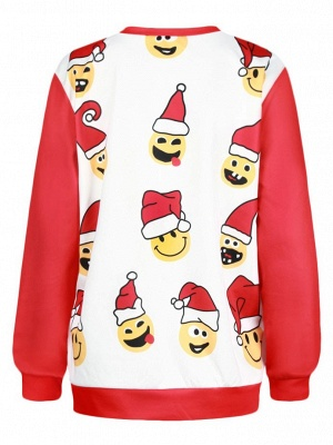 Men/Women Red Cute Cartoon Santa Claus Printed Cotton Thin Funny Christmas T-shirts_3