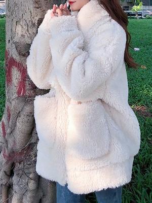 Long Sleeve Pockets Casual Fur And Shearling Coats_6