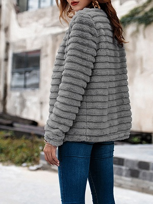 Gray Crew Neck Fluffy  Shift Fur and Shearling Coat_3