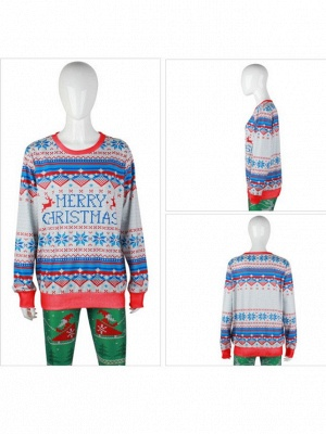 Merry Christmas Snowflake Printed Long Sleeves Ugly Jumpers Sweaters for Women_4