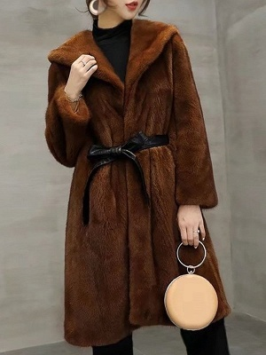 Solid Shift Long Sleeve Bow Casual Fur and Shearling Coat_2