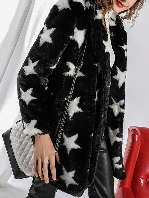 Black Buttoned Casual Graphic Shift Fur and Shearling Coat_6