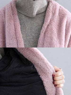 Solid Long Sleeve Pockets Fluffy Fur And Shearling Coats_12