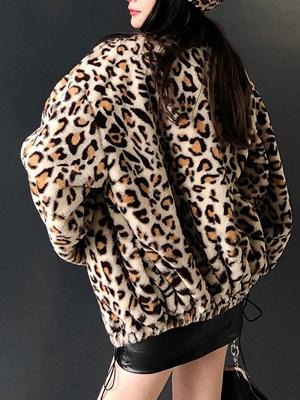 Leopard Print Casual Fur And Shearling Coats_4