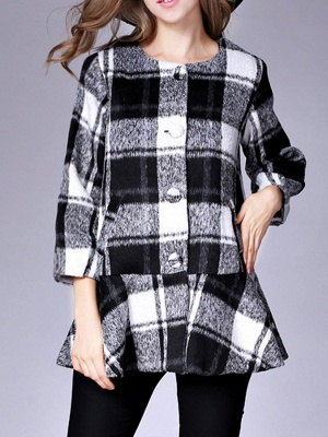 Checkered/Plaid Raglan Sleeve Casual Color-block Coat_2