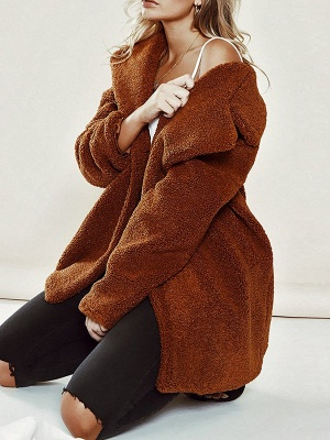 Brown Long Sleeve Lapel Solid Shift Fur And Shearling Coats - StyleWe.com_3