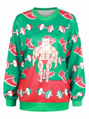 Men/Women Green Cartoon Santa Claus Printed Round Neck Long Sleeves Funny Chriatmas T-shirts_2