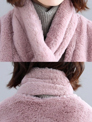 Solid Long Sleeve Pockets Fluffy Fur And Shearling Coats_11