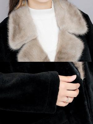 Black Work Lapel Paneled Pockets Fur And Shearling Coats_6