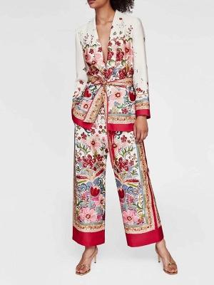 Red Deep V-Neck Long Sleeve Belts Printed Floral Coat_4