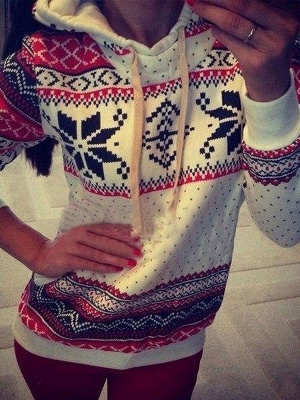 Ethnic Style Snowflakes Printed Thick Fleece Hoodies Casual Hooded Christmas Clothing for Women_3