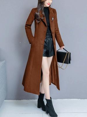Long Sleeve Casual Shawl Collar Solid Coat_1