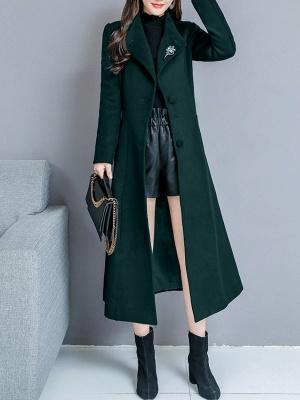 Long Sleeve Casual Shawl Collar Solid Coat_3