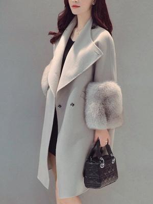 Elegant Wool Fur A-line And Shearling Coat_1