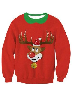 Women's Red Elk Printed Long Sleeves Casual Christmas Sweatshirt_2