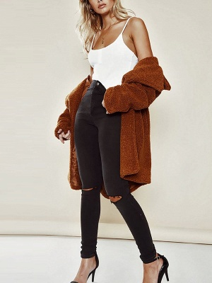 Brown Long Sleeve Lapel Solid Shift Fur And Shearling Coats - StyleWe.com_5