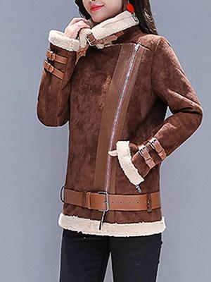 Coffee Paneled Pockets Zipper Fur and Shearling Coat_4