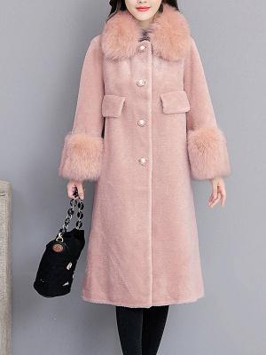 Women's Winter Faux Fur Shearling Coats With Fur Collar_2