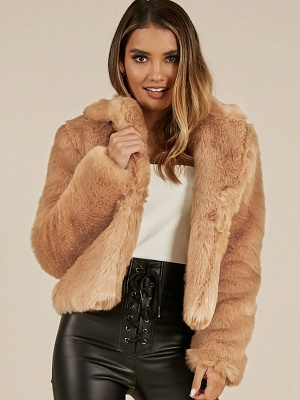 Yellow Brown Long Sleeve Casual Fluffy Fur And Shearling Coats - StyleWe.com_1