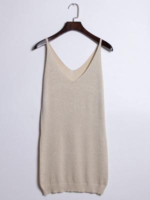 Sleeveless Deep V-neck Silver Wire Knit Harness Vest Tank Top_13