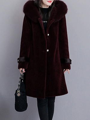 Casual Solid Long Sleeve Fur And Shearling Coats_2