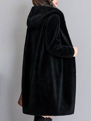 Buttoned Long Sleeve Hoodie Fur And Shearling Coats_9