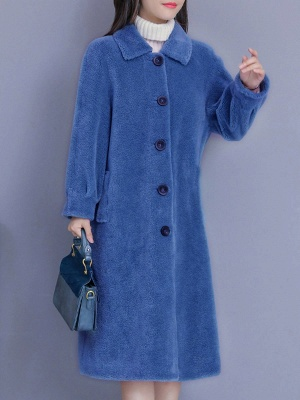 Casual Buttoned Pockets Fur And Shearling Coats_4