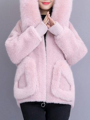 Hoodie Paneled Fluffy Solid Fur And Shearling Coats_1