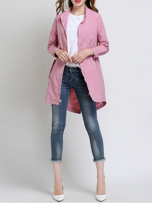 Pink Long Sleeve Stand Collar Coat_4