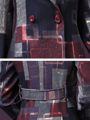 Purple Work Shirt Collar Checkered/Plaid Elegant Coat_6