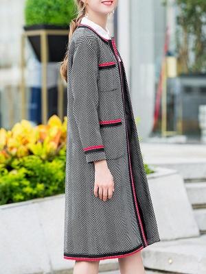 Gray Casual Long Sleeve Paneled Coat_7