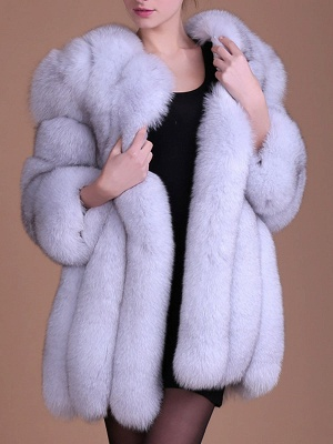 Long Sleeve Casual Solid Paneled Fur and Shearling Coat_1