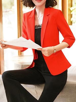 3/4 Sleeve Casual V neck Polyester Pockets Coat_7