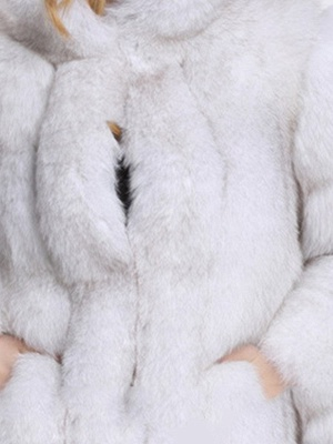 Fluffy Hoodie Casual Artificial LeatherAnd Shearling Coat_5