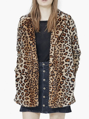 Brown Leopard Print Long Sleeve Fur And Shearling Coats_1