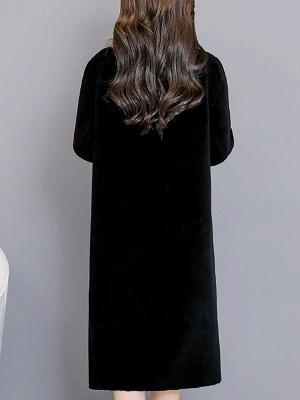 Black Work Lapel Paneled Pockets Fur And Shearling Coats_3