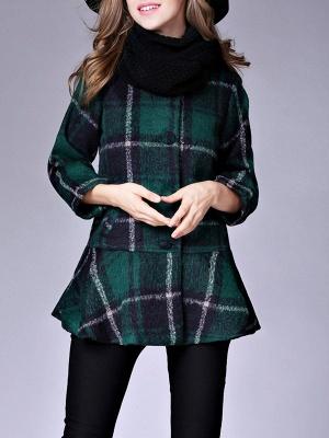 Checkered/Plaid Raglan Sleeve Casual Color-block Coat_3