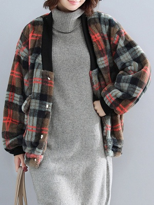Long Sleeve Checkered/plaid Fur And Shearling Coats_5