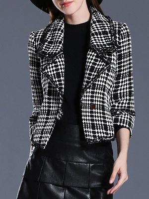 Black Casual Checkered/Plaid Coat_1