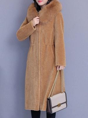 Hoodie Shift Pockets Long Sleeve Fur And Shearling Coats_11