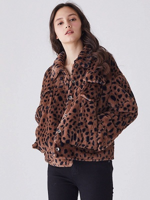 Brown Shift Leopard Print Casual Fur And Shearling Coats_5